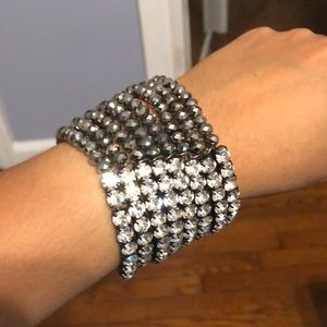 Rhinestone and bead bracelet.